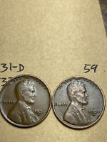 1931-D, 1933-D LINCOLN WHEAT CENT SET, 2 COINS, TOUGH DATES, 59