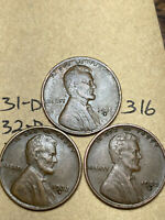 1931-D,1932-D,1933-D LINCOLN WHEAT CENT SET, 3 COINS, TOUGH DATES, 316