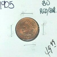 1905 INDIAN HEAD CENT  RED/BU RED/BN  COIN