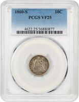 1860-S 10C PCGS VF25 - KEY S-MINT SEATED DIME - SEATED LIBERTY DIME