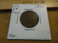 1865 UNITED STATES TWO-CENT PIECE 2C COIN - FREE S&H USA