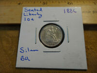 1886 UNITED STATES SEATED LIBERTY SILVER DIME 10C COIN - FREE S&H USA