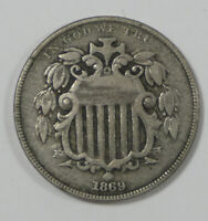 BARGAIN 1869 SHIELD NICKEL  FINE 5-CENTS