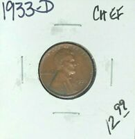 1933-D LINCOLN WHEAT CENT  CH/EF COIN