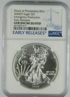 2020 S $1 AMERICAN SILVER EAGLE NGC  EMERGENCY PRODUCTION  ER LABEL