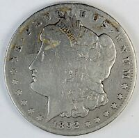 1892-CC UNITED STATES MORGAN SILVER DOLLAR - VG DETAILS - CLEANED