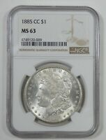 1885-CC MORGAN DOLLAR CERTIFIED NGC MINT STATE 63 CARSON CITY SILVER $