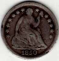 1850 UNITED STATES US SEATED LIBERTY HALF DIME 5 CENTS SILVE