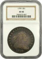 1799 $1 NGC EXTRA FINE 45 - GREAT BUST DOLLAR TYPE COIN - BUST SILVER DOLLAR
