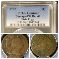 1795 LARGE 1C LIBERTY CAP  GOOD VG DETAILS FLOWING HAIR PCGS CERTIFIED