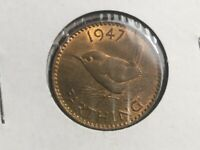 GREAT BRITAIN 1947 FARTHING COIN TONED UNCIRCULATED