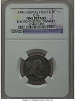 1794 1/2C SMALL LETTERS EDGE NORMAL HEAD NGC FINE DETAILS. GREAT DATE
