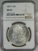UNC 1897-S MORGAN DOLLAR NGC MINT STATE 62.  1