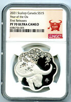 2021 1OZ CANADA $15 SILVER SCALLOP PROOF NGC PF70 YEAR OF TH