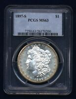 U.S. 1897-S  MORGAN SILVER DOLLAR BRILLIANT UNCIRCULATED PCGS CERTIFIED MINT STATE 63