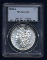 U.S.  1889-S  MORGAN SILVER DOLLAR BRILLIANT UNCIRCULATED PCGS CERTIFIED MINT STATE 63