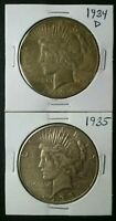 1934 D AND 1935 $1 PEACE SILVER DOLLARS