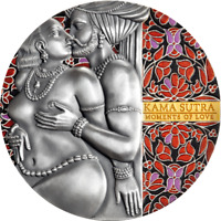 KAMA SUTRA MOMENTS OF LOVE 3 OZ ANTIQUE FINISH SILVER COIN C