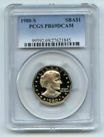 1980 S $1 SBA SUSAN B ANTHONY DOLLAR PROOF PCGS PR69DCAM