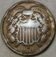 1865 TWO CENT PIECE CIRCULATED WEAK MOTTO DAMAGEDCHECK STORE