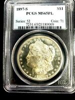 1897 S MORGAN DOLLAR PCGS MINT STATE 65PL  SUPERB LUSTER