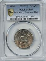 1980 S $1 SBA  IMPROPERLY ANNEALED PCGS MS 66