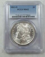 1883-O MORGAN SILVER DOLLAR CERTIFIED PCGS MINT STATE 62 GORGEOUS REVERSE PASTEL TONING