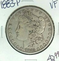 1883-P MORGAN SILVER DOLLAR  VF  COIN
