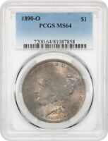 1890-O $1 PCGS MINT STATE 64 - MORGAN SILVER DOLLAR - COLORFUL OBVERSE TINTS