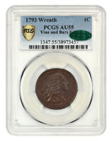 1793 WREATH 1C PCGS/CAC AU55 VINE/BARS CHOICE, HIGH GRADE WREATH CENT