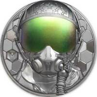 FIGHTER PILOT REAL HEROES 3 OZ BLACK PROOF SILVER COIN 20$ C