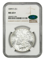 1899-S $1 NGC/CAC MINT STATE 65 SILKY GEM - MORGAN SILVER DOLLAR - SILKY GEM