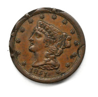 1851 1/2C HALF CENT BRAIDED HAIR US COIN SPIKED WAFFLED STAMPED EDGE