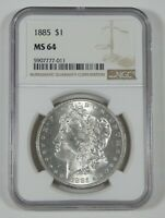 1885 MORGAN SILVER DOLLAR CERTIFIED NGC MINT STATE 64