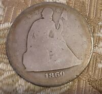 1860 $1 LIBERTY SEATED  SILVER  DOLLAR USA  ENTRY LEVEL GRAD