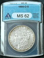 1880-O MORGAN SILVER DOLLAR MINT STATE 62 ANACS MINT STATE 62 TONED EDGES FREE S/H