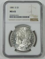 1881-S MORGAN DOLLAR CERTIFIED NGC MINT STATE 65 SILVER DOLLAR