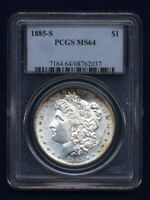 1885-S MORGAN SILVER DOLLAR CHOICE BRILLIANT UNCIRCULATED PCGS CERTIFIED MINT STATE 64