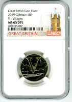 2019 10P GREAT BRITAIN ' V '  VILLAGES NGC MS65 DPL BRITISH