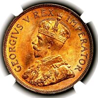 1935 KING GEORGE V SOUTH AFRICA BRONZE ONE PENNY 1D KM 14.3