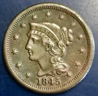 NICE 1845 BRAIDED HAIR LARGE CENT   FREE US SHIPPING