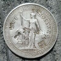 1901 BRITISH  HONG KONG  SILVER TRADE DOLLAR   CHOP MARKS