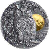 LONG EARED OWL WILDLIFE IN THE MOONLIGHT 2 OZ ANTIQUE FINISH