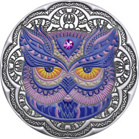 OWL MANDALA COLLECTION 2 OZ ANTIQUE FINISH SILVER COIN 5$ NI