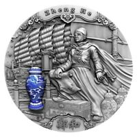 ZHENG HE FAMOUS EXPLORERS 2 OZ ANTIQUE FINISH SILVER COIN 5$