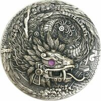 AZTEC DRAGON DRAGONS 2 OZ ANTIQUE FINISH SILVER COIN 2$ NIUE