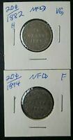 1882 H AND 1894 NEWFOUNDLAND 20 CENT SILVER COINS