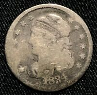 1834 SILVER CAPPED BUST HALF DIME PHILADELPHIA MINT ABOUT GOOD CONDITION