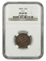 1854 1/2C NGC MINT STATE 66 BN C-1 - BRAIDED HAIR HALF CENTS 1840-1857