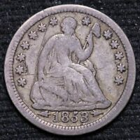 1853 SEATED LIBERTY HALF DIME 90 WITH ARROWS CIRCULATED 90 SILVER COIN 33021D